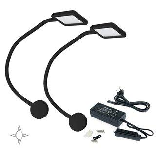 Lot de 2 appliques carrés Kuma Emuca à col de cygne flexible avec 2 ports USB en couleur noir et convertisseur de 50W