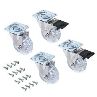 Kit de 4 roulettes transparentes Slip Emuca D. 75 mm avec plétine de montage et roulements à billes