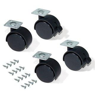 Kit de 4 roulettes pour caisson à tiroirs Emuca de D. 40 mm avec plétine de montage et roulements à billes