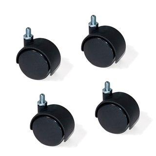 Kit de 4 roulettes pour caisson à tiroirs Emuca de D. 40 mm avec boulon M8 x 12 et roulements à billes
