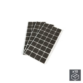 Lot de 10 sachets de 96 patins en feutre adhésifs Emuca carrés 25 x 25 mm