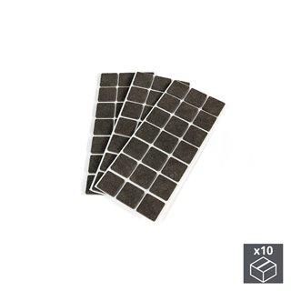 Lot de 10 sachets de 63 patins en feutre adhésifs Emuca carrés 30 x 30 mm