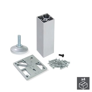Kit de 4 pieds Prisma Emuca pour meubles, hauteur 130 mm en aluminium anodisé mat