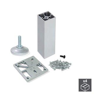 Kit de 4 pieds Prisma Emuca pour meubles,hauteur 150 mm en aluminium anodisé mat