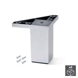 Kit de 4 pieds Alumix1 Emuca pour meubles, hauteur 80 mm en gris métallisé