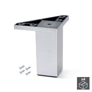 Kit de 4 pieds Alumix1 Emuca pour meubles, hauteur 100 mm en gris métallisé