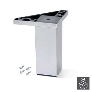 Kit de 4 pieds Alumix1 Emuca pour meubles, hauteur 120 mm en gris métallisé