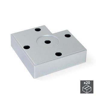 Lot de 20 pieds Alumix7 Emuca pour meubles, hauteur 15 mm finition gris métallisé