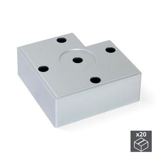 Lot de 20 pieds Alumix7 Emuca pour meubles, hauteur 30 mm finition gris métallisé