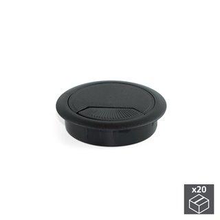 Lot de 20 passe-câbles D. 60 mm Emuca pour encastrer en plastique noir