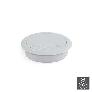 Lot de 4 passe-câbles D. 80 mm Emuca pour encastrer en plastique gris