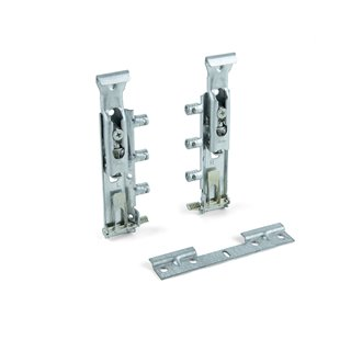 Ferrures de suspension invisibles pour armoires Levelup Emuca avec plétine