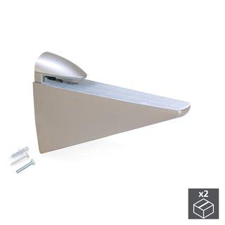 Lot de 2 supports Halcón Emuca pour étagère en bois ou en verre finition nickelé peint mat