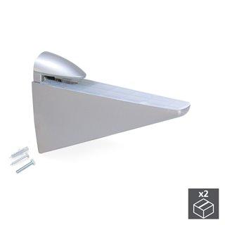 Lot de 2 supports Halcón Emuca pour étagère en bois ou en verre finition gris métallisé