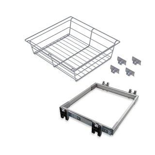 Kit de coulisses et panier métallique Keeper Emuca pour module 600 mm finition anodisé mat