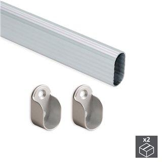 Kit de 2 tubes de penderie 30 x 15 mm en aluminium longueur 950 mm et supports Emuca pour armoire