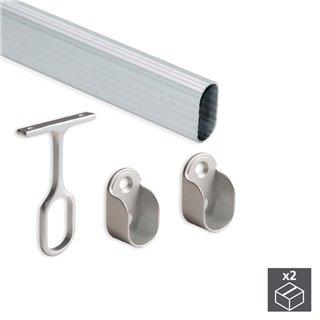 Kit de 2 tubes de penderie 30 x 15 mm en aluminium longueur 1.400 mm et supports Emuca pour armoire