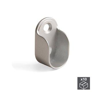 Lot de 10 supports Emuca pour barre de penderie armoire en zamak  finition gris métallisé