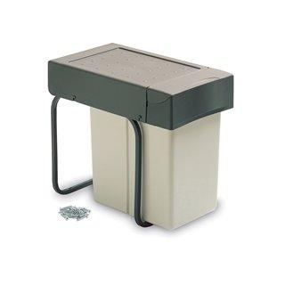 Poubelle de recyclage Emuca à fixation inférieure et extraction manuelle avec 1 conteneur de 20 litres et couvercle automatique