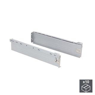 Lot de 10 kits de tiroir Ultrabox Emuca hauteur 86 mm et profondeur 270 mm finition gris métallisé