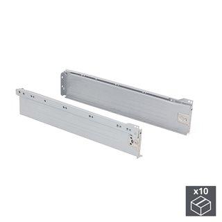 Lot de 10 kits de tiroir Ultrabox Emuca hauteur 86 mm et profondeur 400 mm finition gris métallisé