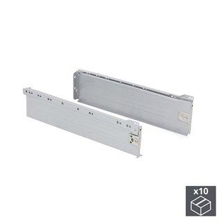 Lot de 10 kits de tiroir Ultrabox Emuca hauteur 118 mm et profondeur 270 mm finition gris métallisé