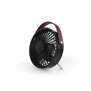 Ventilateur De Bureau Usb Design - Rechargeable - Noir Avec Poignée (Aspect Cuir)