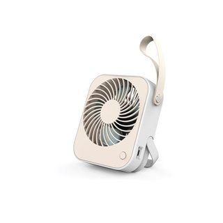 Ventilateur De Bureau Usb Design - Rechargeable - Blanc/Crème - Avec Dragonne