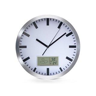 Horloge Murale  En Aluminium Avec Écran Lcd Et Thermomètre, Hygromètre & Prévisions Météo - Ø 25 Cm