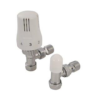 Valve thermostatique à angle avec valve de sécurité - 15 mm