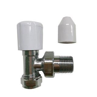 Valve à angle pour radiateur, chromée - 15 mm
