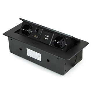 Multi-connecteur EU 265x120mm Atom Emuca pour encastrer au bureau en couleur noir