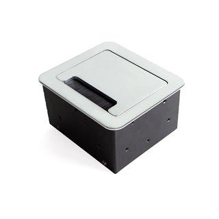 Multi-connecteur EU 145x130mm Atom Emuca pour encastrer au bureau en couleur peinte aluminium