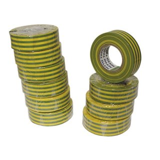 Nitto - Ruban Adhesif Isolant - Vert/Jaune - 19 Mm X 10 M