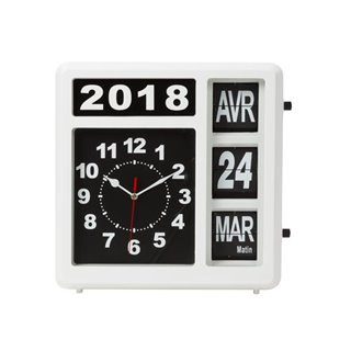 Horloge Murale À Chiffres Sautants Avec Calendrier - 31 X 31 Cm - Français