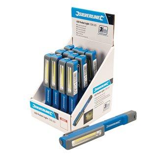 Présentoir lampes de poche LED, 12 pcs - LED COB 1,5 W, 12 pcs