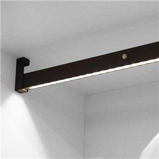 Emuca Barre de penderie pour armoire avec lumière LED, réglable 558-708 mm, batterie amovible, détecteur de mouvement, Lumière B