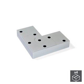 Emuca Pied pour meubles, hauteur 12 mm, Plastique, Gris métalisé, 4 pcs.