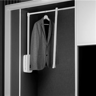 Emuca Penderie rabattable pour armoire, réglable 830-1.150 mm, jusqu'à 12 Kg, Acier, Blanc