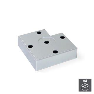 Emuca Pied pour meubles, hauteur 15 mm, Plastique, Gris métalisé, 4 pcs.
