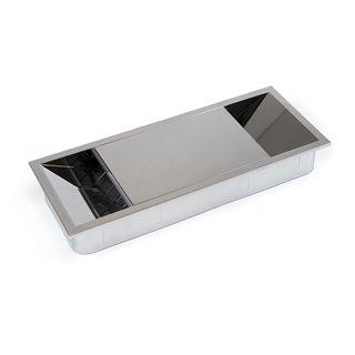 Emuca Passe-câbles table, rectangulaire, 152 x 61 mm, pour encastrer, Plastique, Chromé
