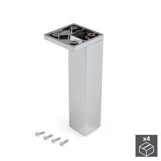 Emuca pied pour meubles, coin, réglable 140 - 150 mm, Plastique, Chromé, 4 u.