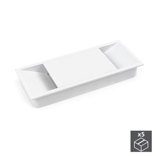 Emuca Passe-câbles table, rectangulaire, 152 x 61 mm, pour encastrer, Plastique, Blanc, 5 un.