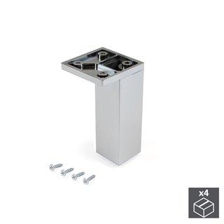 Emuca Pied pour meubles, coin, réglable 100 - 110 mm, Plastique, Chromé, 4 u.