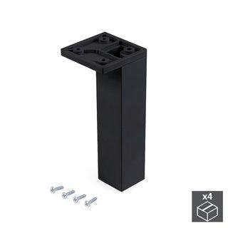 Emuca Pied pour meubles, coin, réglable 140 - 150 mm, Plastique, Noir, 4 u.