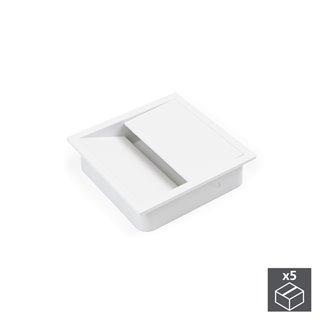 Emuca Passe-câbles table, carré, 85 x 85 mm, pour encastrer, Plastique, Blanc, 5 un.
