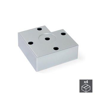 Emuca Pied pour meubles, hauteur 30 mm, Plastique, Gris métalisé, 4 pcs.