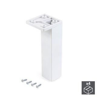 Emuca Pied pour meubles, coin, réglable 140 - 150 mm, Plastique, Blanc, 4 u.
