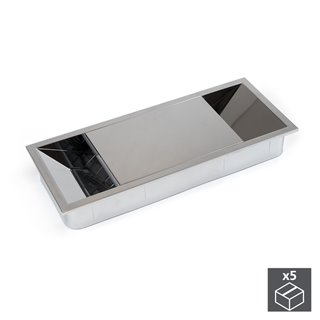 Emuca Passe-câbles table, rectangulaire, 152 x 61 mm, pour encastrer, Plastique, Chromé, 5 un.