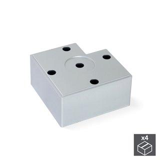 Emuca Pied pour meubles, hauteur 45 mm, Plastique, Gris métalisé, 4 pcs.